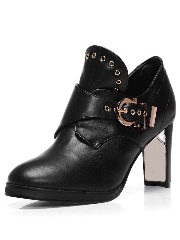 Women's Sheepskin Closed Toe Chunky Heel With Buckle Booties/Ankle Black Boots