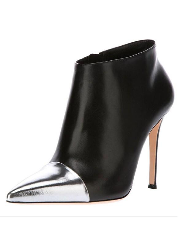 Women's Stiletto Heel Sheepskin Closed Toe With Zipper Ankle Black Boots