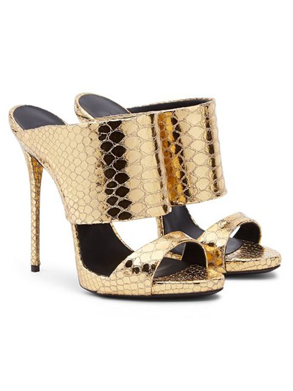 Women's Gold Sheepskin Peep Toe Stiletto Heel Sandals Shoes