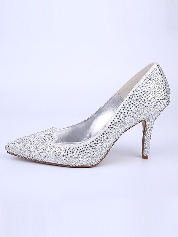 Women's Closed Toe Stiletto Heel With Crystal Silver Wedding Shoes
