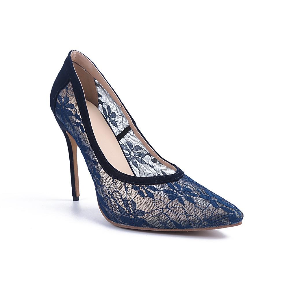 Women's Lace Closed Toe Stiletto Heel High Heels