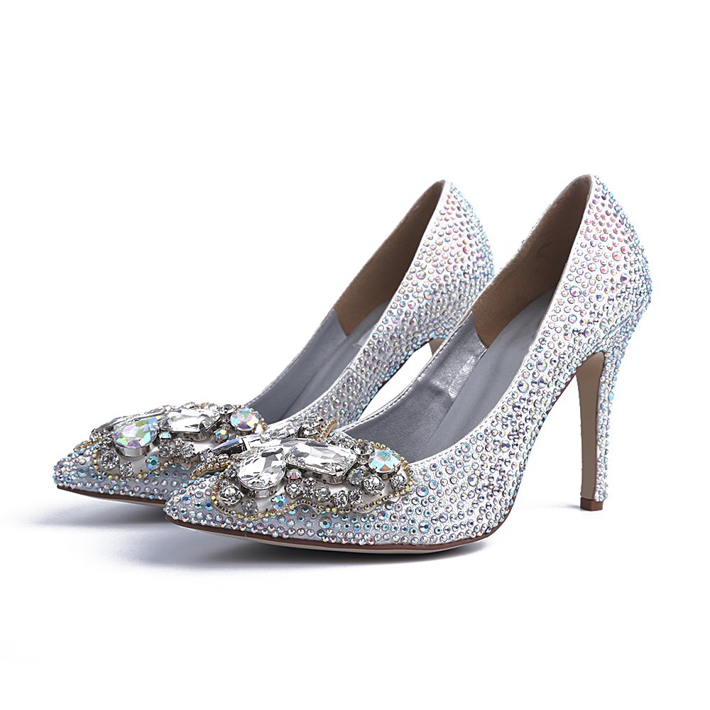 Women's Closed Toe Stiletto Heel With Rhinestone Silver Wedding Shoes