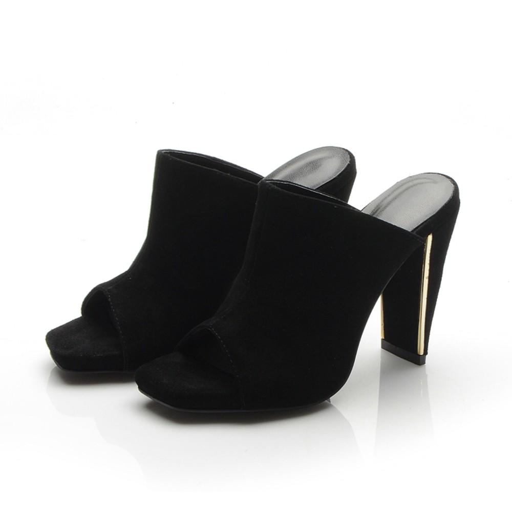Women's Peep Toe Platform Chunky Heel Suede Sandals Shoes