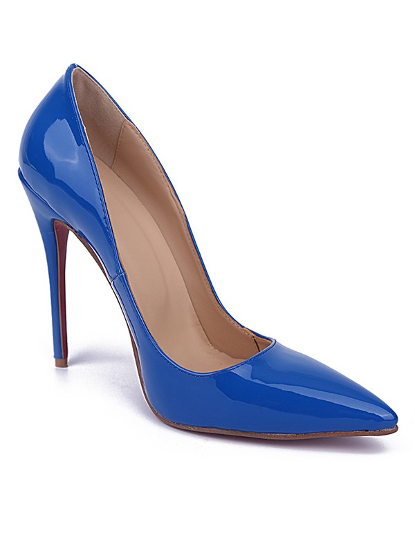 Women's Royal Blue Closed Toe Stiletto Heel Patent Leather High Heels