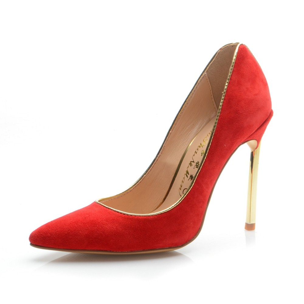 Women's Suede Closed Toe Stiletto Heel High Heels