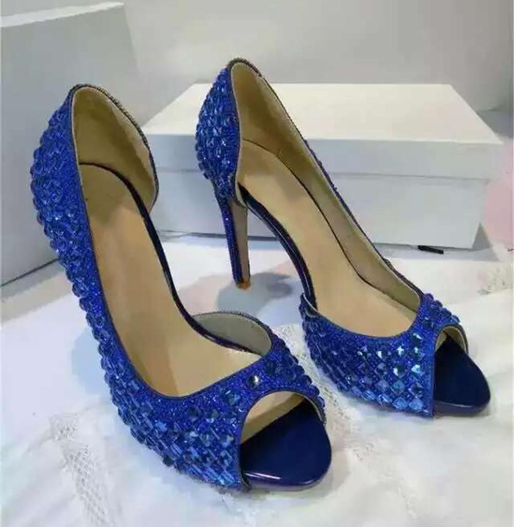 Women's Suede Platform Peep Toe Stiletto Heel With Rhinestone Sandals Shoes
