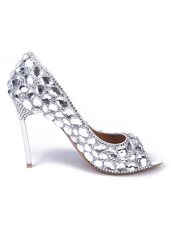 Women's Patent Leather Peep Toe Stiletto Heel With Rhinestone High Heels