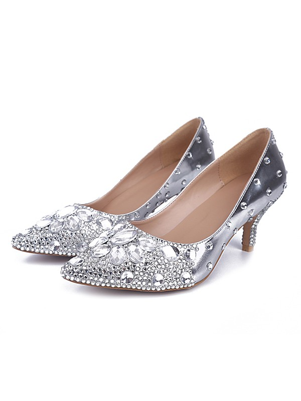 Women's Sheepskin Closed Toe Cone Heel With Rhinestone Silver Wedding Shoes