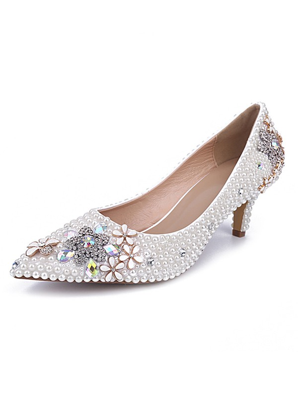 Women's Cone Heel Patent Leather Closed Toe With Pearl White Wedding Shoes