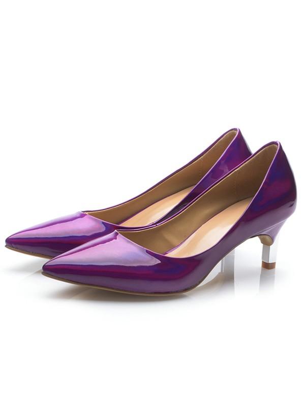 Women's Regency Patent Leather Closed Toe Cone Heel High Heels