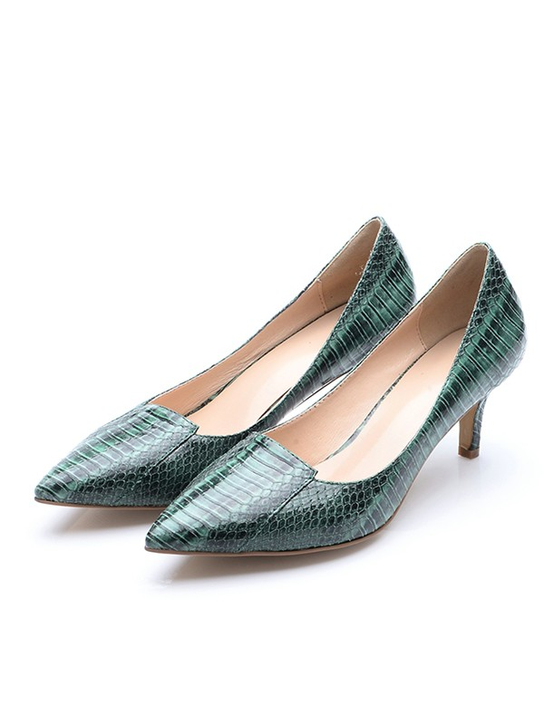 Women's Closed Toe Cone Heel Patent Leather With Crocodile Print High Heels