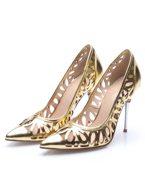 Women's Stiletto Heel Patent Leather Gold Closed Toe High Heels
