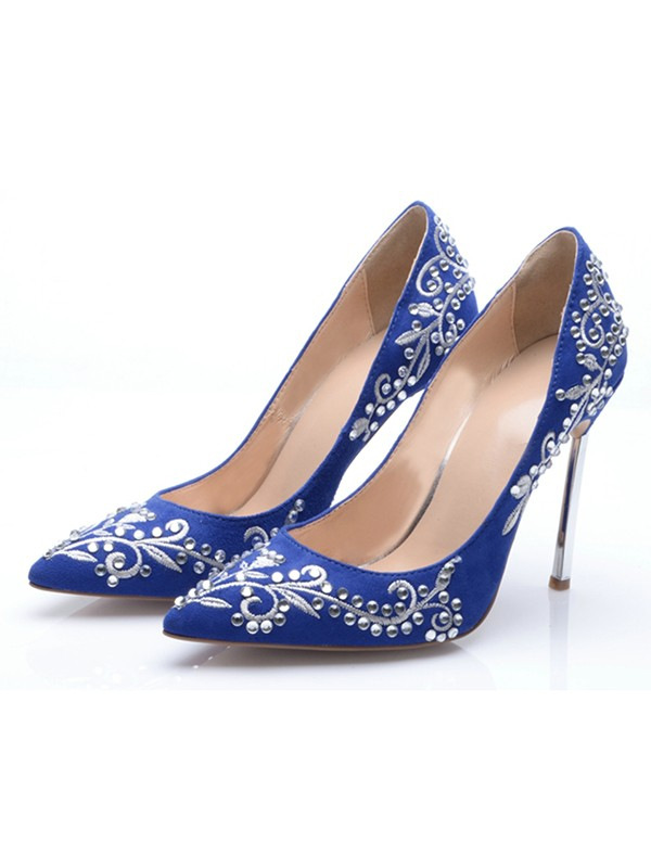 Women's Suede Closed Toe Stiletto Heel With Embroidery High Heels