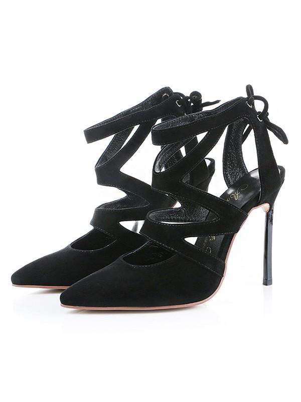 Women's Suede Closed Toe Stiletto Heel Sandals