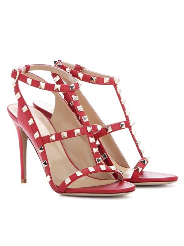 Women's Sheepskin Peep Toe Stiletto Heel Sandals