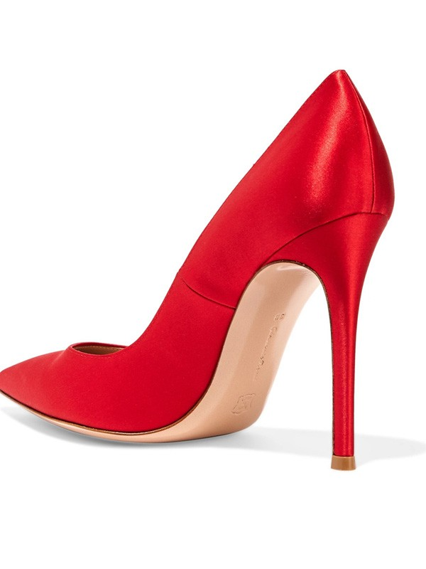 Women's Satin Closed Toe Stiletto Heel High Heels