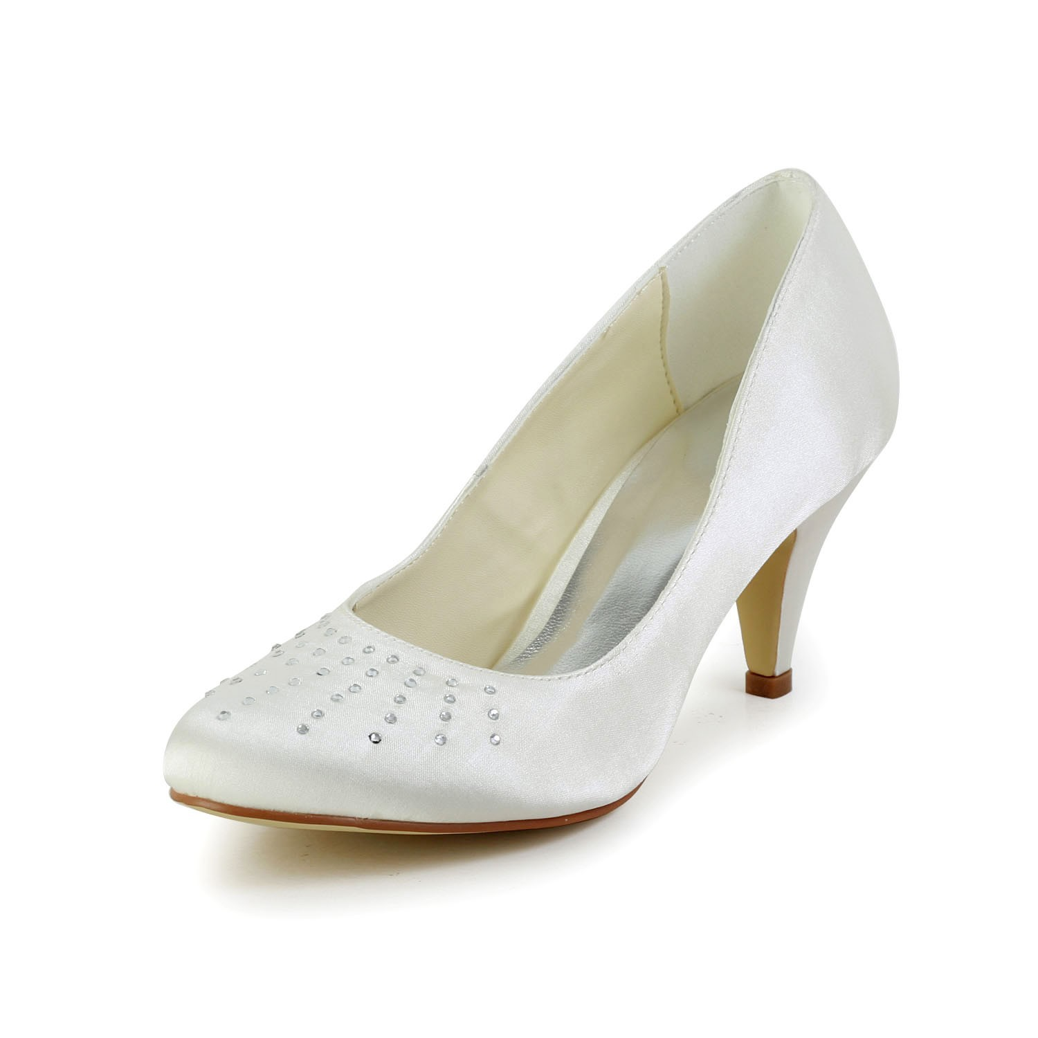 Women's Satin Closed Toe Cone Heel Ivory Wedding Shoes With Rhinestone