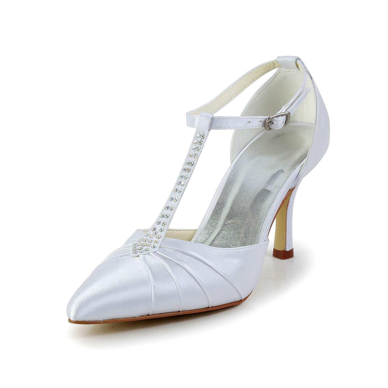 Women's Satin Stiletto Heel Closed Toe Platform White Wedding Shoes With Rhinestone