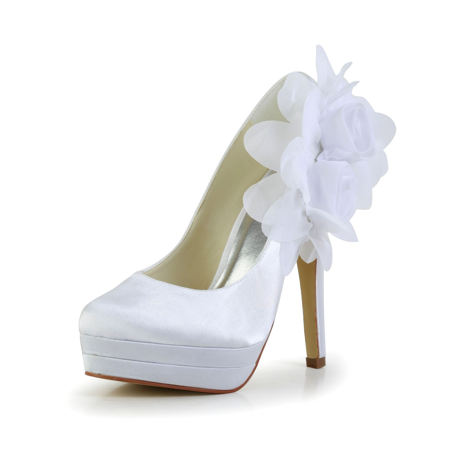 Women's Satin Stiletto Heel Closed Toe Platform Pumps White Wedding Shoes With Satin Flower
