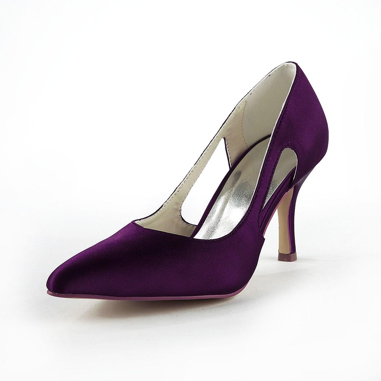 Women's Satin Stiletto Heel Closed Toe Pumps Grape Wedding Shoes