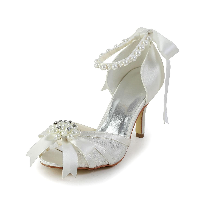 Women's Satin Stiletto Heel Sandals Dance Shoes Pearl