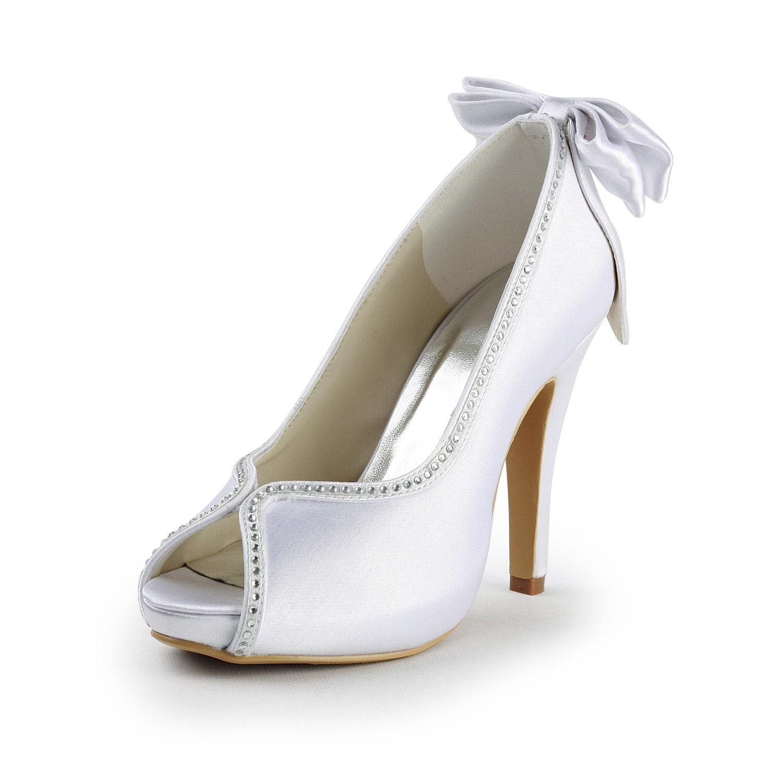 Women's Satin Stiletto Heel Peep Toe With Bowknot White Wedding Shoes