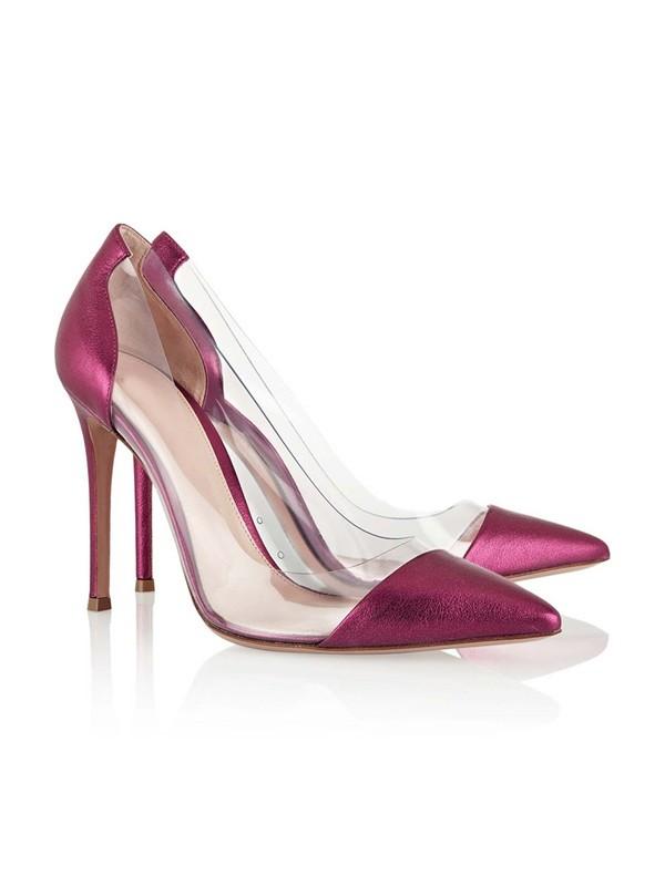 Women's Closed Toe Stiletto Heel Sheepskin High Heels