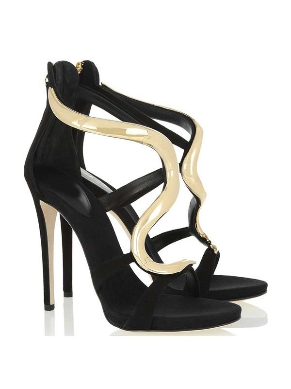 Women's Stiletto Heel Suede Platform Peep Toe Sandals Shoes