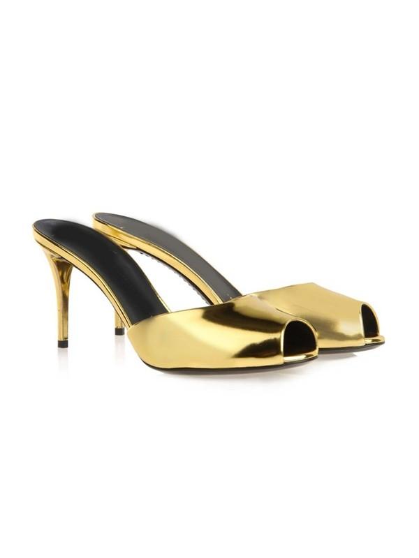 Women's Patent Leather Peep Toe Stiletto Heel Sandals Shoes