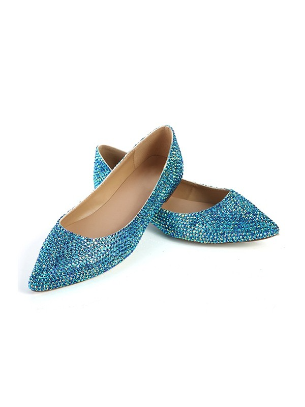 Women's Closed Toe Flat Heel Sheepskin With Sequin Flat Shoes