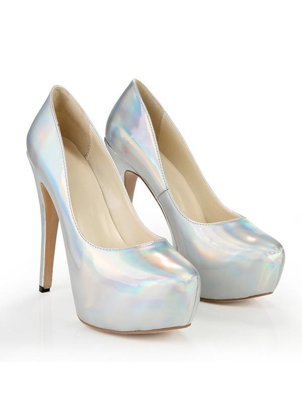 Women's Closed Toe Platform Patent Leather Stiletto Heel Silver Wedding Shoes