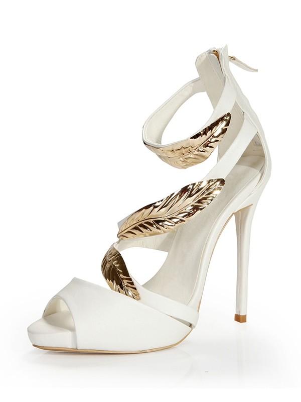 Women's Platform Stiletto Heel Peep Toe Sheepskin With Zipper Sandals Shoes