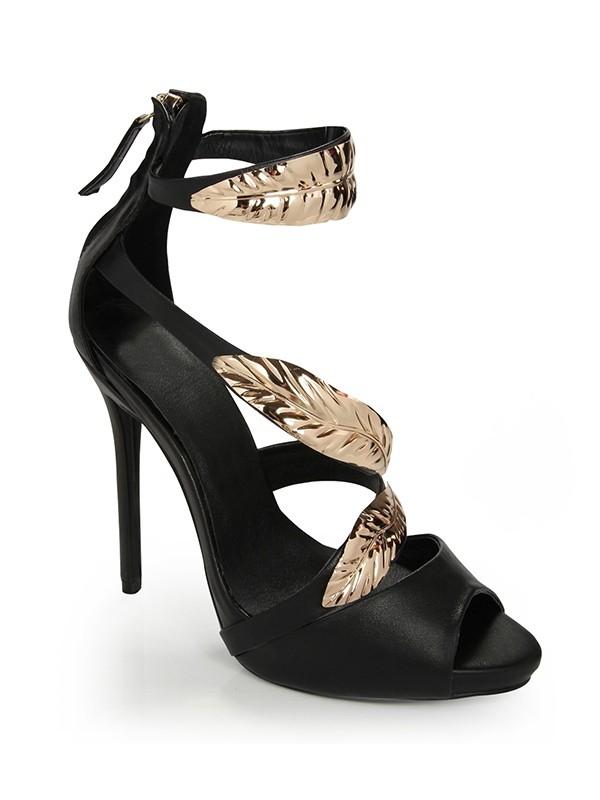 Women's Stiletto Heel Peep Toe Platform Sheepskin With Zipper Sandals Shoes