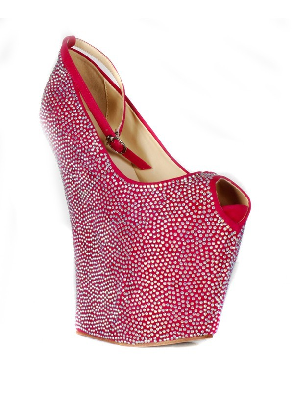 Women's Flock Wedge Heel Peep Toe Platform With Rhinestone Wedges Shoes