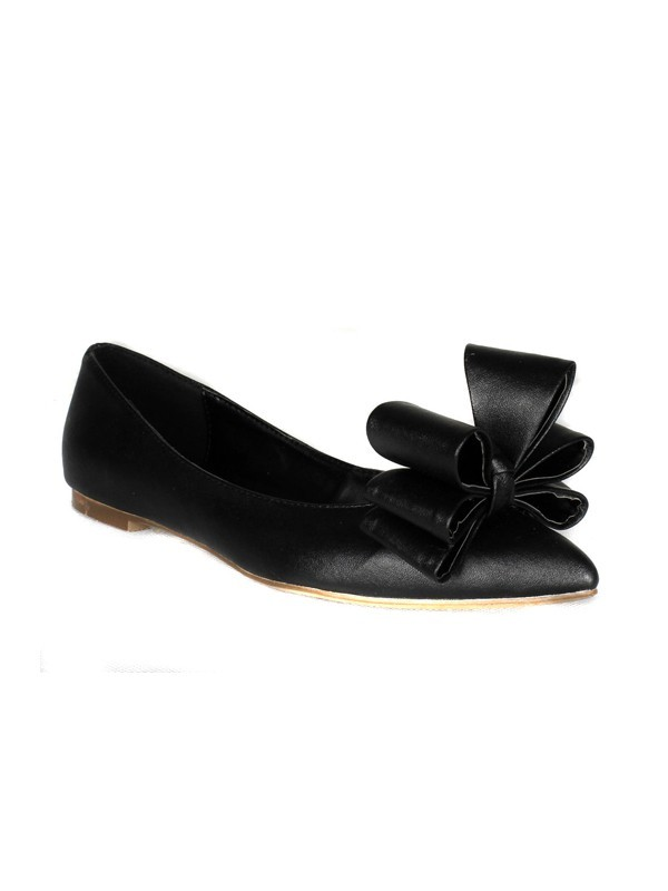Women's Sheepskin Flat Heel Closed Toe With Bowknot Flat Shoes