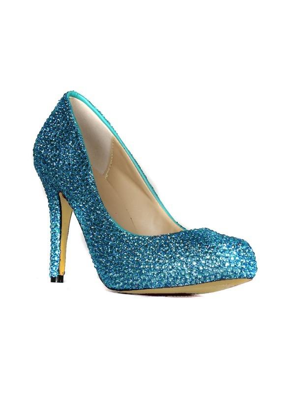 Women's Sheepskin Stiletto Heel Closed Toe Platform With Rhinestone Platforms Shoes
