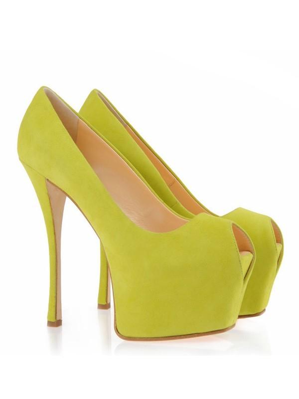Women's Suede Peep Toe Stiletto Heel Platform Platforms Shoes