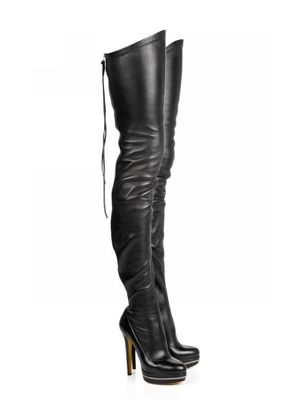 Women's Elastic Leather Stiletto Heel Platform Over The Knee Black Boots