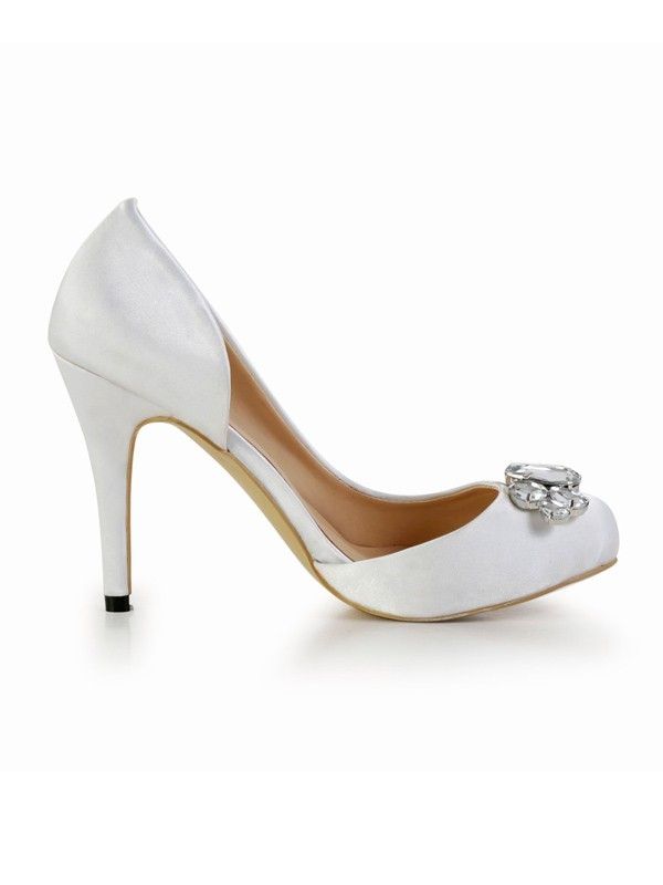 Women's Stiletto Heel Silk Closed Toe With Rhinestone Platform White Wedding Shoes
