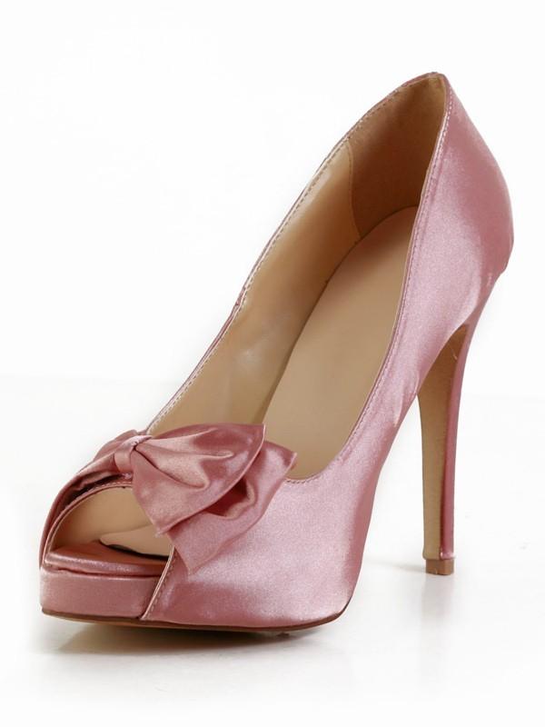 Women's Stiletto Heel Silk Peep Toe With Bowknot Platform Watermelon Wedding Shoes