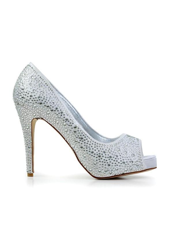 Women's Stiletto Heel Flock Peep Toe With Rhinestone Platform Platforms Shoes