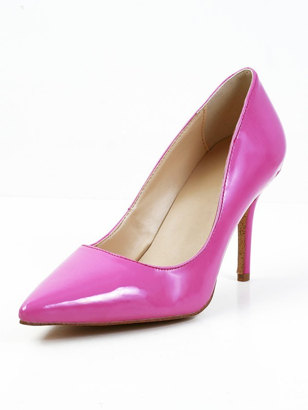 Women's Stiletto Heel Patent Leather Closed Toe High Heels