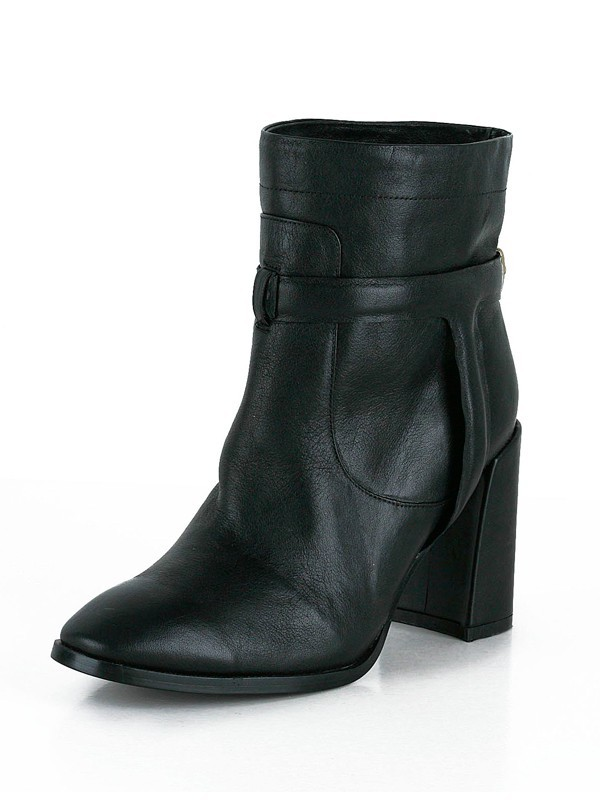 Women's Sheepskin Chunky Heel Closed Toe Booties/Ankle Black Boots