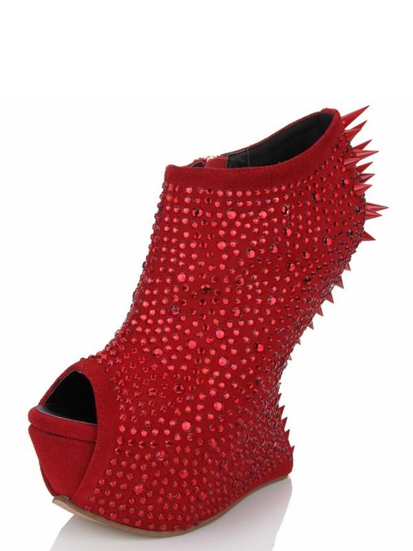 Women's Peep Toe Wedge Heel Suede Platform With Rhinestone Wedges Shoes
