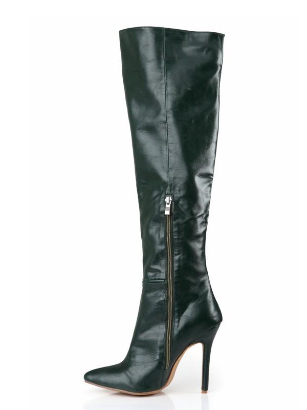 Women's Cattlehide Leather Stiletto Heel Closed Toe Knee High Hunter Green Boots