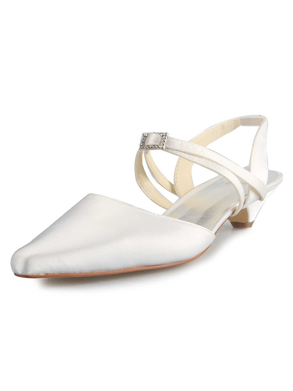 Women's Satin Kitten Heel Closed Toe With Buckle White Wedding Shoes