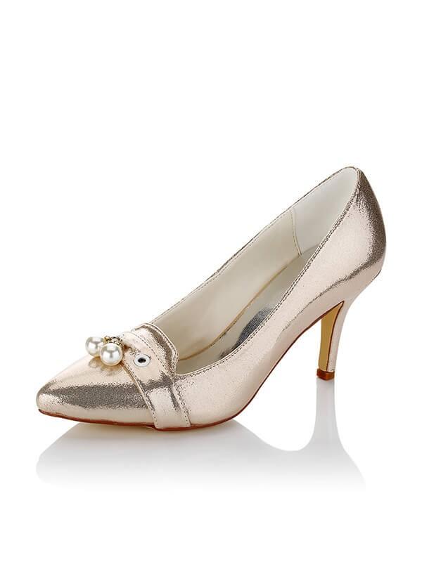 Women's Satin PU Closed Toe Stiletto Heel Wedding Shoes