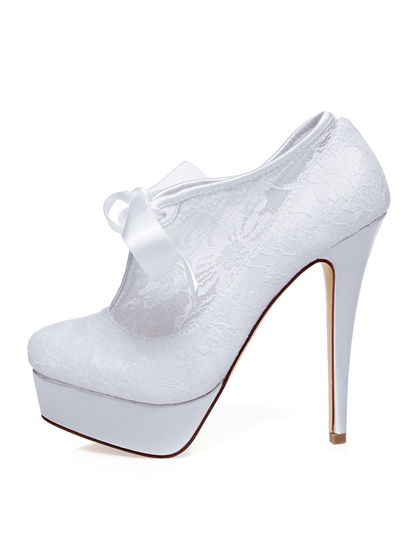 Women's Satin Closed Toe Silk Stiletto Heel Wedding Shoes