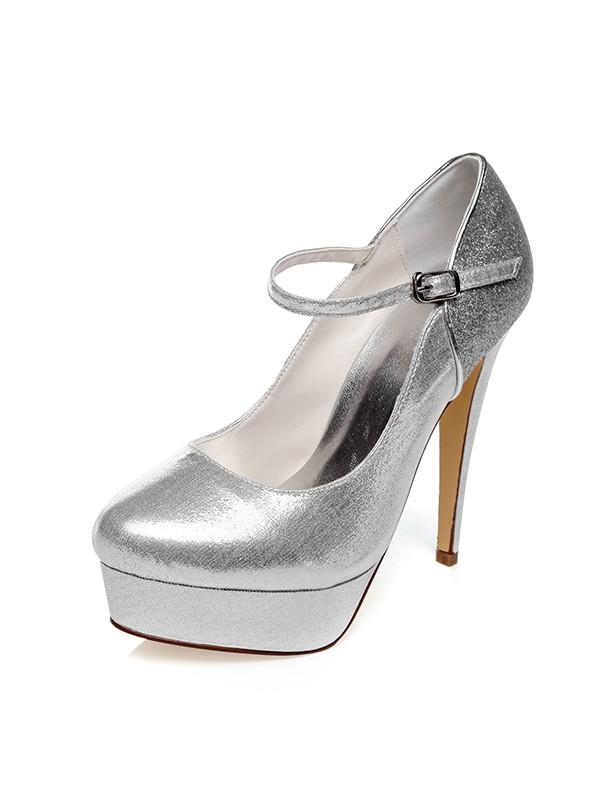 Women's PU Closed Toe Buckle Stiletto Heel Wedding Shoes