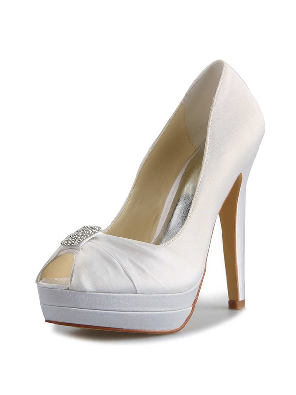 Women's Satin Stiletto Heel Platform Peep Toe With Rhinestone White Wedding Shoes
